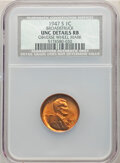 Errors, 1947-S 1C Lincoln Cent - Broadstruck, Obverse Wheel Mark -- NCS. Unc Details Red and Brown.. From...