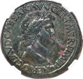 Ancients:Roman Imperial, Ancients: Nero (AD 54-68). AE sestertius (35mm, 27.63 gm, 6h). NGC XF 5/5 - 2/5, smoothing....