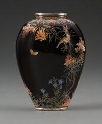 An Important Japanese Cloisonné Vase, Namikawa Yasuyuki (1845-1927), Meiji Period Marks: Signed on a silver table...
