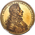 """German States:Augsburg, German States: Augsburg. Free City gold """"Victory at Höchstädt"""" Medal of 10 Ducats 1704-Dated MS63★ NGC,..."""