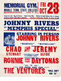 """Music Memorabilia:Posters, Johnny Rivers, Chad & Jeremy, Ventures 1964 """"Memphis Special"""" Concert Poster...."""