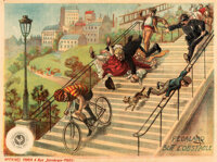 """Biker Does the Impossible (Pathé Frères, 1907). Very Fine on Linen. French Poster (22.5"""" X 33.5""""..."""