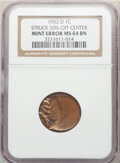 Errors, 1952-D 1C Lincoln Cent -- Struck 50% Off Center -- MS64 Brown NGC.. From The Don Bonser Error Coin Collecti...