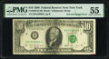 Error Notes:Ink Smears, Solvent Smear on Face Error Fr. 2029-B $10 1990 Federal Reserve Note. PMG About Uncirculated 55.. ...