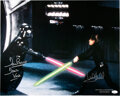 Movie/TV Memorabilia:Autographs and Signed Items, Mark Hamill/David Prowse Signed Star Wars: Return of the Jedi Promo Photo....