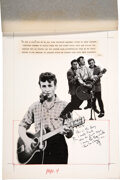Music Memorabilia:Autographs and Signed Items, John Lennon Handwritten Note, Doodle, and Initials On Rock 'N' Roll Book Layout....
