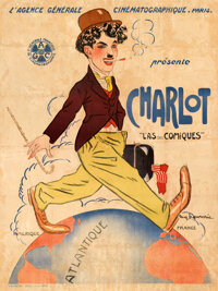 """Charlie Chaplin Stock (Agence General Cinematographique, 1917). Very Good/Fine on Linen. Stock French Grande (45.5""""..."""