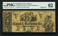 Obsoletes By State:Louisiana, New Orleans, LA- New Orleans Canal & Banking Company $5; $20 18__ Remainders PMG Uncirculated 62; PMG Choice Uncirculated ... (Total: 2 notes)