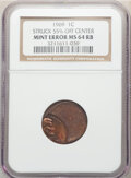 1969 1C Lincoln Cent -- Struck 55% Off Center -- MS64 Red and Brown NGC. From The Don Bonser Error Coin Co