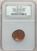 Errors, 1967 1C Lincoln Cent -- Struck 60% Off Center, Improperly Cleaned -- NCS. Unc Details Red and Brown.. From