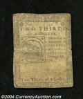 "Colonial Notes:Continental Congress Issues, Continental Currency February 17, 1776 $2/3 Fine. A solid ""..."