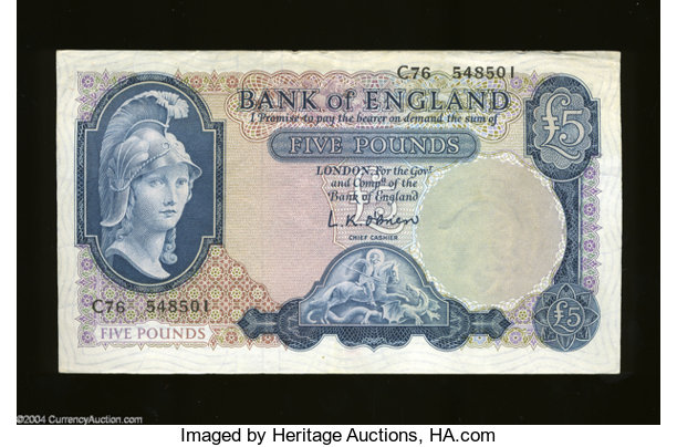 World Currency Great Britain 5 Pounds Bank Of England 1957 67