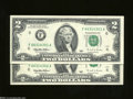 Error Notes:Miscellaneous Errors, Fr. 1936-F $2 1995 Federal Reserve Notes. Two Consecutive ... (2 notes)