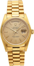 Timepieces:Wristwatch, Rolex, 18k Oyster Perpetual Day-Date, Ref. 18038, circa 19...