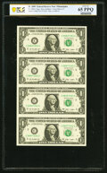 Small Size:Federal Reserve Notes, Fr. 3000-C $1 2009 Federal Reserve Notes. Uncut Sheet of Four. PCGS Banknote Gem Unc 65 PPQ;. Fr. 3000-C $1 2009 Federal R... (Total: 2 sheets)