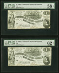 Confederate Notes:1862 Issues, T44 $1 1862 PF 3 Cr. 341 Two Consecutive Examples PMG Graded Choice About Unc 58 EPQ; Uncirculated 62 EPQ.. ... (Total: 2 notes)