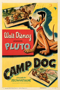 """Pluto in Camp Dog (RKO, 1950). Fine+on Linen. One Sheet (27"""" X 41"""")"""