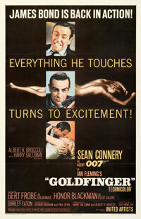 "Goldfinger (United Artists, 1964). Fine on Linen. One Sheet (27"" X 41.5"") Glossy Style"