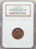 Errors, 1970-D 1C Lincoln Cent -- Broadstruck -- MS64 Red and Brown NGC.. From The D...