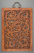 Carvings, A Chinese Carved Wood Hanging Chilong Panel. 18-5/8 x 13-1/4 inches (47.3 x 33.7 cm). ...