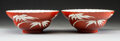 Ceramics & Porcelain, A Pair of Chinese Coral-Ground Porcelain Bamboo Bowls, Qing Dynasty. Marks to each: XIEZHU ZHUREN ZAO hallma... (Total: 2 Items)