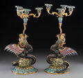 Ceramics & Porcelain, A Pair of Chinese Cloisonné and Gilt Bronze Dragon-Form Candelabra. 18-1/2 inches (47.0 cm) (each). ... (Total: 2 Items)