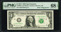 Small Size:Federal Reserve Notes, Radar Serial Number 24499442 Fr. 1930-C $1 2003A Federal Reserve Note. PMG Gem Uncirculated 66 EPQ;. Radar Serial Number 5... (Total: 2 notes)