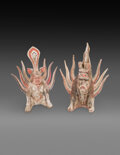 Ceramics & Porcelain, Two Chinese Pottery Earth Spirits. 13-1/2 x 11 x 5 inches (34.3 x 27.9 x 12.7 cm). ... (Total: 2 Items)