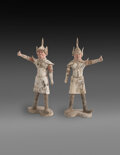 Ceramics & Porcelain, A Pair of Large Painted Grey Pottery Guardian Figures, Tang Dynasty. 16 x 9 x 38 inches (40.6 x 22.9 x 96.5 cm). ...