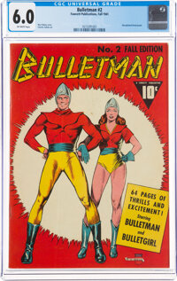 Bulletman #2 (Fawcett Publications, 1941) CGC FN 6.0 Off-white pages