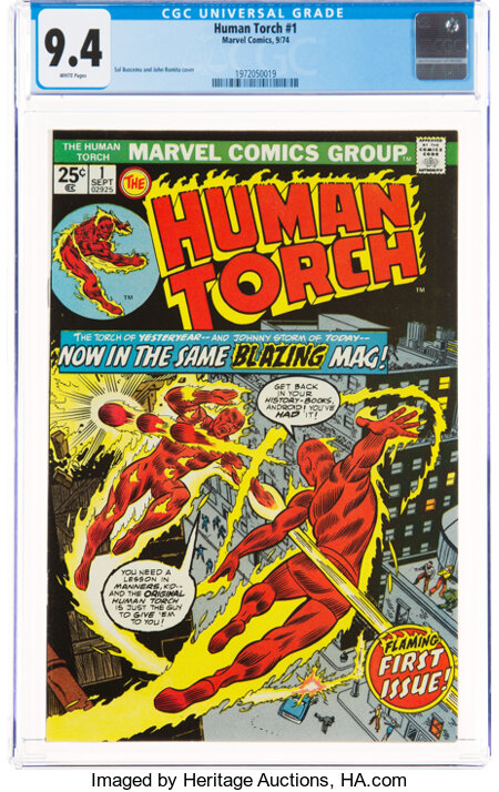 The Human Torch #1 (Marvel, 1974) CGC NM 9.4 White pages....