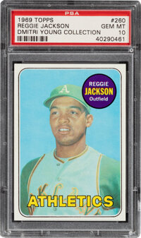 1969 Topps Reggie Jackson Rookie #260 PSA Gem Mint 10--Dmitri Young Collection