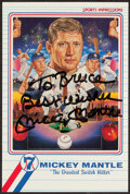 Autographs:Sports Cards, Mickey Mantle Signed Art Card. ...