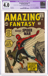 Amazing Fantasy #15 (Marvel, 1962) CGC Apparent VG 4.0 Slight/Moderate (C-2) Off-white to white pages