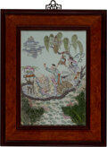 Ceramics & Porcelain, A Chinese Enamel Porcelain Plaque Depicting Magu Giving Her Birthday Greetings. 16-1/4 x 11-1/4 inches (41.3 x 28.6 cm). ...