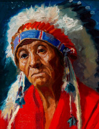 Henry C. Balink (American, 1882-1963) The Old Indian Chief Oil on canvas laid on board 8-3/4 x 6-3/4 inches (22.2 x 1
