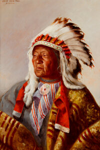 John Hauser (American, 1858-1913) Chief Iron Trail, Sioux, 1903 Oil on canvas 18 x 12 inches (45