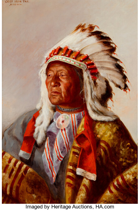 John Hauser (American, 1858-1913) Chief Iron Trail, Sioux, 1903 Oil on canvas 18 x 12 inches (45.7 x 30.5 cm) Signed...