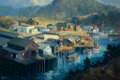 Paintings, Ralph Love (American, 1907-1992). Fishing Village, 1978. Oil on canvas . 24 x 36 inches (61.0 x 91.4...