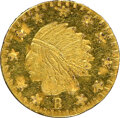 "Western Souvenir Gold, ""1859"" California Indian Round, Indian ""B"" 11 Stars - Wreath #5, MS65 Deep Prooflike NGC. 9.7 mm. Ex: Sunrise Collection...."