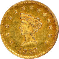 """""""1859"""" California Liberty Round, Wreath #4a, MS63 NGC. 11.7 mm. Ex: Sunrise Collection"""