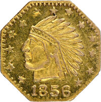 """""""1856"""" California Indian Octagonal, Wreath #4b, MS66 NGC. 11.3 mm. Ex: Sunrise Collection"""