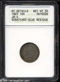Bust Dimes: , 1827 VF30--Scratched, Glue Residue--ANACS, XF Details....