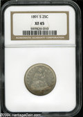 Seated Quarters: , 1891-S XF45 NGC. ...