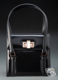 Lalique Leather Ligne Prisme Handle Bag and Lalique Clear and Frosted Glass Le Baiser Pendent, circa... (Total: 2 Items)