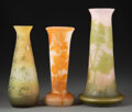 Glass, Three Gallé Cameo Glass Vases, circa 1900. Marks: Gallé. 9-3/4 inches (24.8 cm) (tallest). ... (Total: 3 Items)
