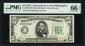 Small Size:Federal Reserve Notes, Fr. 1959-C $5 1934C Wide Federal Reserve Note. PMG Gem Uncirculated 66 EPQ.. ...