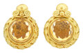 Estate Jewelry:Earrings, Citrine, Gold Earrings. ...