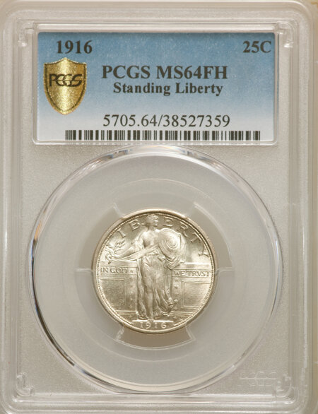 1916 25C STANDING, FH PCGS Secure 64 PCGS