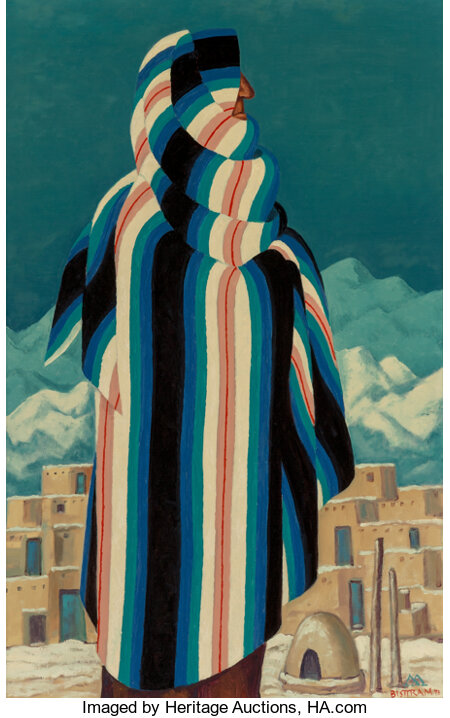 Emil Bisttram (American, 1895-1976) The Lookout, 1973 Oil on canvas 40 x 25 inches (101.6 x 63.5 cm) Signed and date...